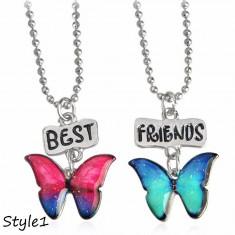 Medalion / Pandantiv / Colier / Lantisor -  SET Best Friends - Fluturi - Model 1