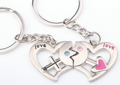 Set Breloc Pentru Cuplu / Indragostiti - In Forma De inima - LOVE -