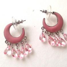 REDUCERE-Cercei rotunzi/ semiluna SUPERBI eleganti roz-  placati cu aur 18k