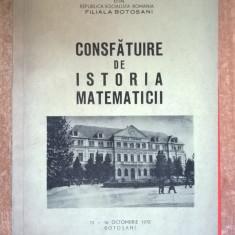 Consfatuire de istoria matematicii {1972}