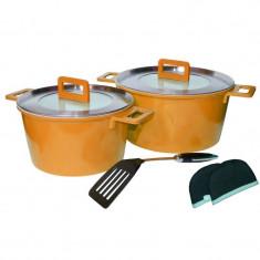 Set oale ceramica Barton Steel, 7 piese, Portocaliu - oala, cratita