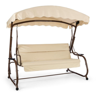 Blumfeldt High Society scaun grădină tip leagăn, 220 cm, brun, funcție trapă, poliester si oțel foto