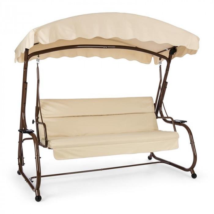 Blumfeldt High Society scaun grădină tip leagăn, 220 cm, brun, funcție trapă, poliester si oțel foto mare