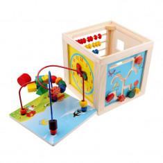 Cub educativ multifunctional 5 in 1, lemn - Jucarie interactiva