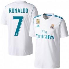 Tricou FC REAL MADRID, 7 Ronaldo model nou sezon 2017-2018 - Tricou echipa fotbal, Marime: L, XL, XS, XXL, Culoare: Alb, Din imagine, De club, Maneca scurta