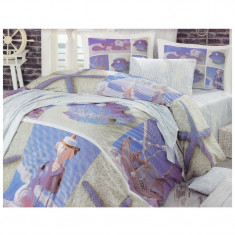 Lenjerie pat 2 persoane Hobby, 4 piese, model marin - Lenjerie de pat, Bumbac