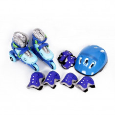 Set role cu casca si protectii Maxtar, marimea 26-29, Albastru, Patine cu rotile