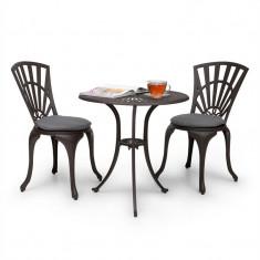 Blum Feldt Valletta 3 buc. Bistro Set masă și 2 scaune pentru relaxare, din aluminiu turnat sub presiune bronz-maro - Set gradina