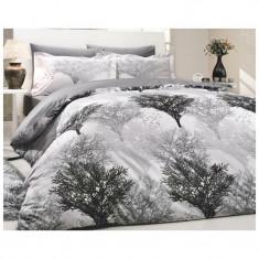 Lenjerie pat 2 persoane Hobby, 4 piese, model copaci - Lenjerie de pat, Bumbac
