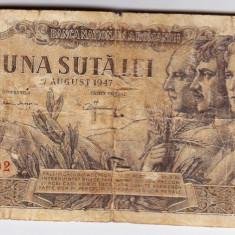 Bancnota 100 lei 1947 27 august rara - Bancnota romaneasca