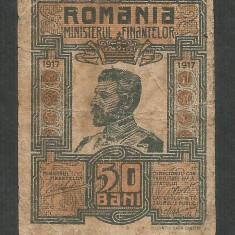 ROMANIA 50 BANI 1917 [1] P-71, F - Bancnota romaneasca