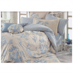 Lenjerie pat 2 persoane Hobby, 4 piese, Albastru/Crem
