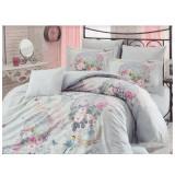 Lenjerie pat 2 persoane Hobby, 4 piese, albastru/model floral - Lenjerie de pat, Bumbac