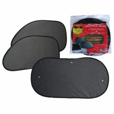 Parasolare luneta si geamuri laterale-spate, negru, 3 bucati RoGroup