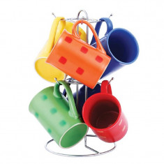 Set 6 cani ceramica Vabene, suport inclus, multicolor - Cana