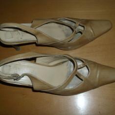PANTOFI de DAMA - Pantof dama, Culoare: Bej, Marime: 38, Piele naturala, Cu toc