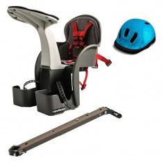 Scaun si casca protectie, Flames albastra, WeeRide, 1-4 ani - Accesoriu Bicicleta