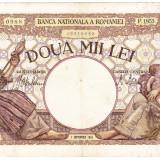 Bancnota 2000 lei 1943 1 septembrie filigran BNR