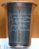 Pahar interbel. din argint oferit de Ofiterii Regimentul 4 Vanatori unui veteran