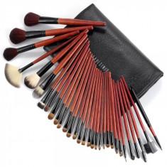 Set 31 pensule machiaj in borseta neagra de depozitare Fraulein38 Black Red