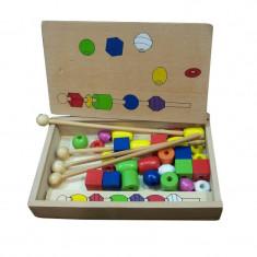 Joc potrivire cu bile colorate, lemn - Jocuri Forme si culori
