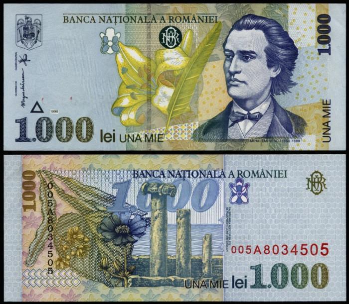 1000 LEI 1998 FILIGRAN MARE OBLIC UNC NECIRCULATA