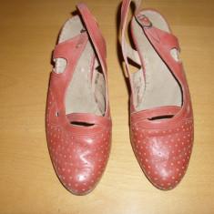 PANTOFI de DAMA - Pantof dama, Culoare: Rosu, Marime: 36, Piele naturala, Cu toc