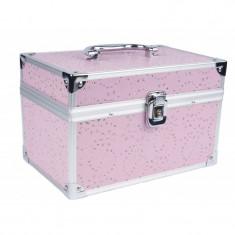 Geanta pentru cosmetica 2116, roz, cristale, oglinda inclusa - Geanta cosmetice