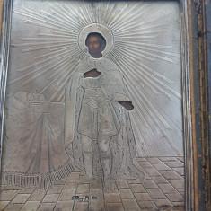 ICOANA RUSĂ -ARGINT- sec- 19 - PICTURA PE TABLA -datată 1861-Țarul ALEXANDRU II - Icoana din metal