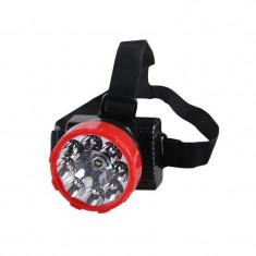 Lanterna frontala 9 LED-uri 1W cu acumulator