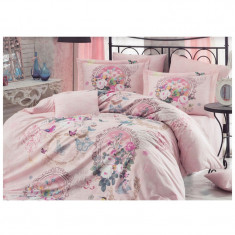 Lenjerie pat 2 persoane Hobby, 4 piese, roz/model floral - Lenjerie de pat, Bumbac