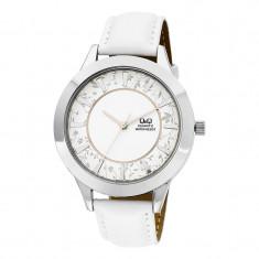 Ceas dama Q&Q Flower Silver, piele ecologica, Fashion, Quartz, Otel, Analog