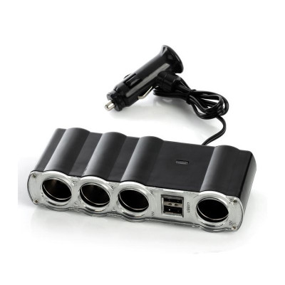Priza auto cu 4 iesiri, 2 x USB, suprafata adeziva foto