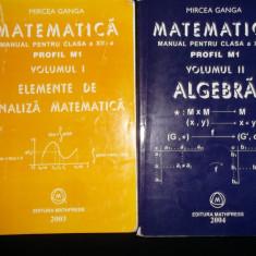 Mircea Ganga , Matematica , clasa a XII-a, 2 volume, profil M1