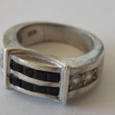 Inel argint vintage cu onix si zirconii -2111