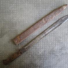 Baioneta WW1, probabil din Primul Razboi Mondial, marcaje