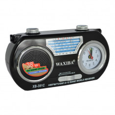 Radio portabil cu ceas Waxiba XB-391C, 12 benzi