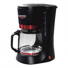 Filtru de cafea Delicia Albatros, 10 cesti, 680 W, Negru/Rosu