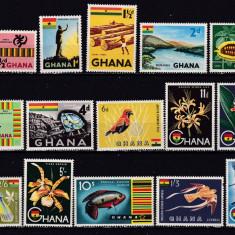 Ghana 1959 fauna flori simboluri nationale MI 48-62 MNH w45 - Timbre straine, Nestampilat