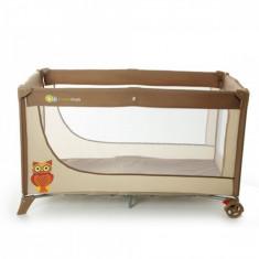 Patut pliabil cu 1 nivel Joy 120 x 60 cm Brown KinderKraft - Patut pliant bebelusi Kinderkraft, Maro
