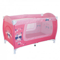 Patut pliant Danny 1 nivel Pink Kitty Lorelli - Patut pliant bebelusi