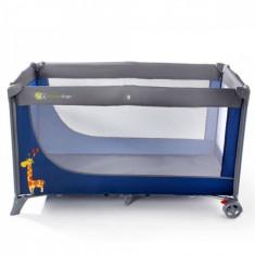 Patut pliabil cu 1 nivel Joy 120 x 60 cm Dark Blue KinderKraft - Patut pliant bebelusi Kinderkraft, Albastru