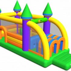 Saltea gonflabila profesionala Castel cu obstacole Happy Hop - Casuta copii Happy Hop, Multicolor