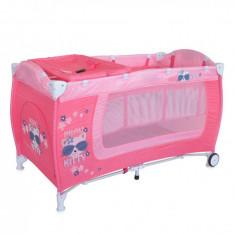 Patut pliant Danny 2 nivele Pink Kitty Lorelli - Patut pliant bebelusi