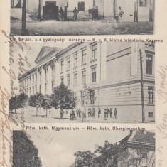 ALBA IULIA K.U.K. CAZARMA INFANTERIA SCOALA SUPERIOARA KASINO OFITERI - Carte Postala Transilvania dupa 1918, Circulata, Printata