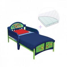 Set pat cu cadru metalic Disney si saltea pentru patut Dreamily 140 x 70 x 10 cm Testoasele Ninja Delta Children - Pat tematic pentru copii, 140x70cm, Multicolor