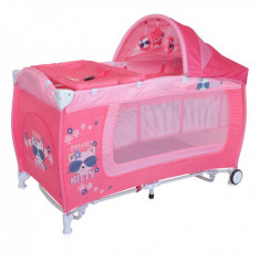 Patut pliant Danny 2 Plus Rocker Pink Kitty Lorelli - Patut pliant bebelusi