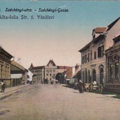 ALBA IULIA STRADA 5 VANATORI - Carte Postala Transilvania dupa 1918, Necirculata, Printata