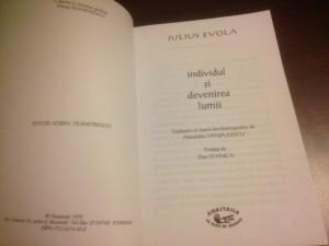 JULIUS EVOLA, INDIVIDUL SI DEVENIREA LUMII. COLECTIA ESEU, ANASTASIA 1999