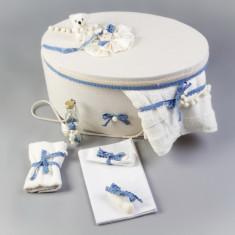 Cutie si trusou botez complet dantela bleu Collection Nikos